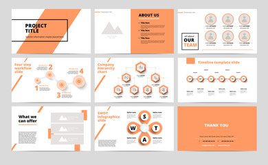 Сorporate presentation slides design. Creative business proposal or annual report. Full HD vector keynote infographics template on black layout. Startup project advertising brochure.