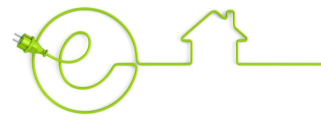 Green e-power plug bent in a house shape
