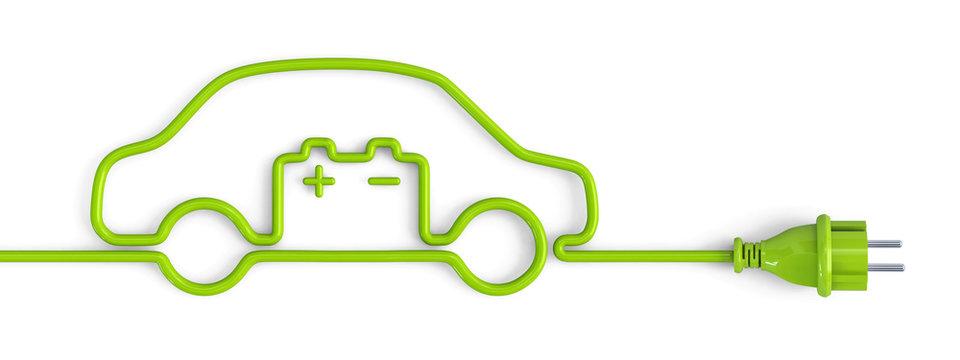 Green power plug car with car battery