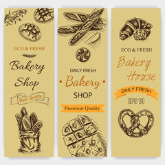 Vector illustration sketch - bakery. bread, loaf, baguette. Card bakeryshop with fresh pastry.