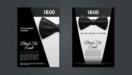 A4 Elegant Black Tie Event Invitation Template