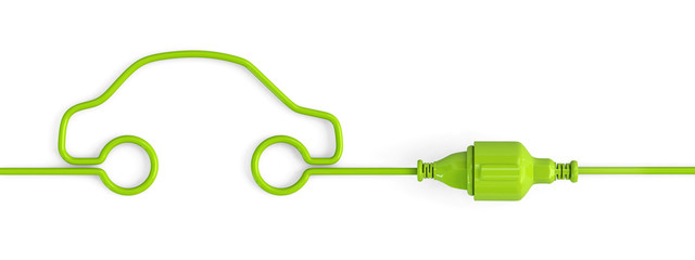 Green power plug connection cable in a car shape - closed