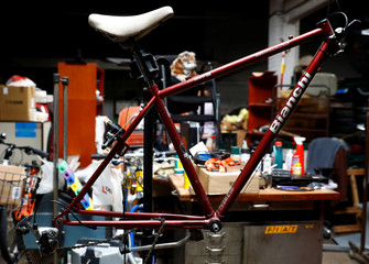 A vintage Bianchi bicycle is seen in a garage in Vienna