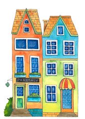 Watercolor house Pharmacy. Hand drawn illustration.