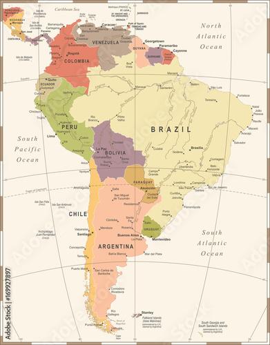 South America Map - Vintage Vector Illustration\