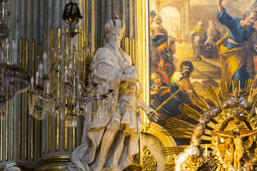 Elements of an interior interior The Roman Catholic parish in the style of the Church of St. Peter in Vienna in Austria.