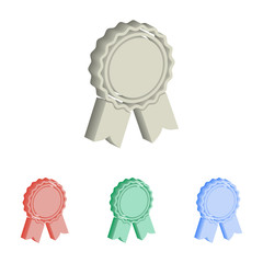 Award 3d isometric vector icons.