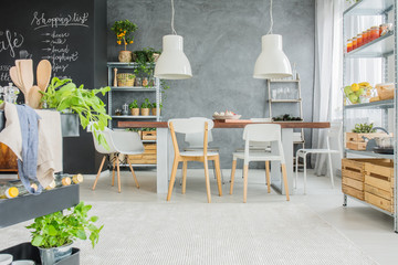 Industrial dining room with table