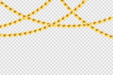 Vector realistic isolated golden beads necklace pattern for decoration and covering on the transparent background. Concept of jewelry and beauty.