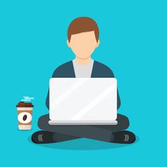 Freelance man working with laptop on armchair. Freelance job. Flat design.  Freelancer works. Vector illustration of a flat design