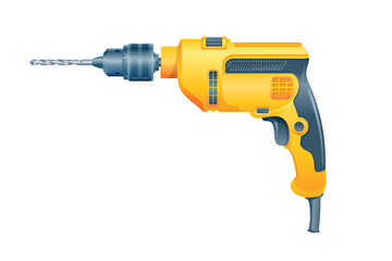 Manual electric drill on white background. Vector illustration