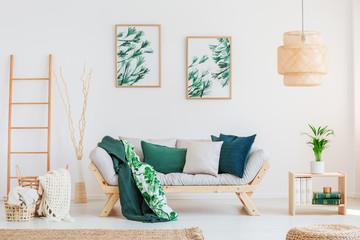 Beige sofa in neutral living room