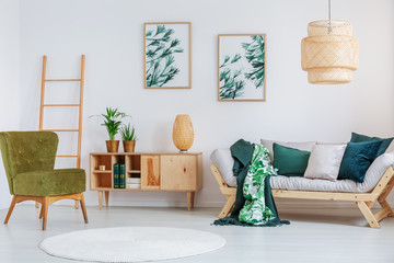 Living room with creative lamp