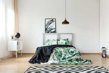 Horizontal symmetric photo of bedroom