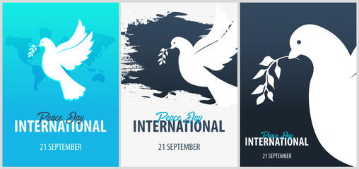 International Peace Day poster. 21 September. Dove with olive branch.