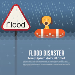 Flood disaster with flood warning banner and dog on Lifebuoy in flood water and rain vector design