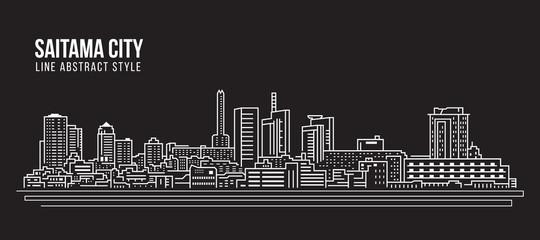 Cityscape Building Line art Vector Illustration design - Saitama city