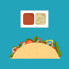 Vector illustration flat style. Taco mexican food isolated on background. Taco fast food, icon