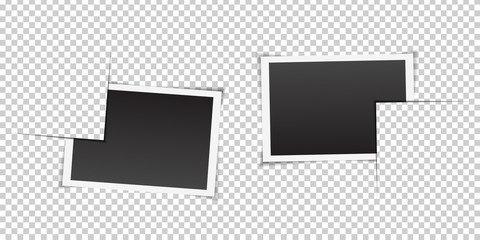 Vector set of isolated photo frames on the transparent background. Realistic template for photo covering, branding and decoration.