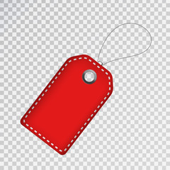 Vector realistic isolated red price tag coupon for decoration and covering on the transparent background. Concept of discount and sale.