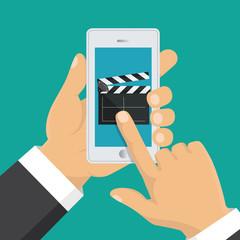 On line order of cinema tickets. Smartphone application. Vector illustration.