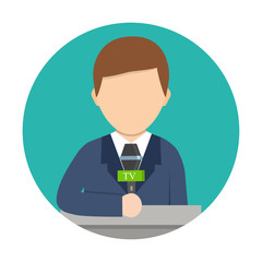 Cartoon vector illustration. Breaking news concept. Correspondent with microphone, news reporter.