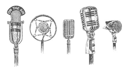 Set of microphones isolated on white background. Retro Vintage hand drawn engraving style vector illustration. Scratch board imitation