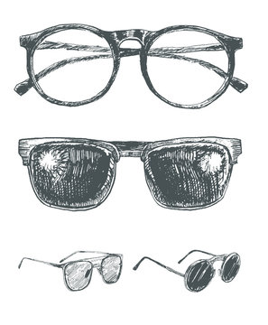 Set of eyeglasses and sunglasses. Fashion vintage elements hand-drawn collection. Engraving style retro vector lineart  illustration