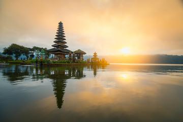 Pura Ulun Danu Bratan temple in sunrise sky at Bali island, The most famous tourist attraction in Indonesia.