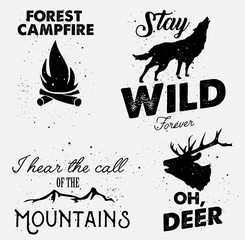 Wilderness hipster badges set vector