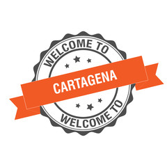 Welcome to Cartagena stamp Illustration