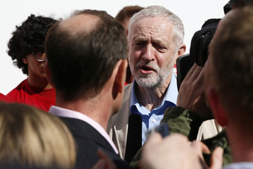 Britain's opposition Labour Party leader Jeremy Corbyn speaks during an election campaign poster launch in London