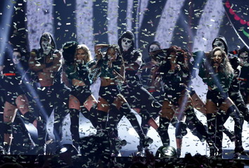 Little Mix perform at the BRIT Awards at the O2 arena in London, Britain