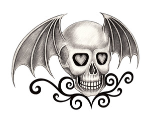 Art wings devil skull tattoo.