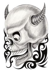 Art devil skull tattoo.