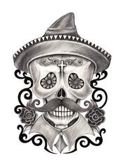 Art skull day of the dead.