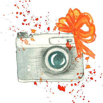 vintage camera with color splashes