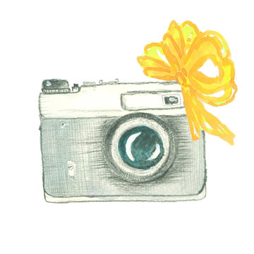 vintage camera with yellow bow