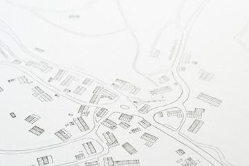 Lageplan mit Bebauung eines Dorfes