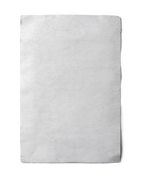 Old paper on white background with clipping path