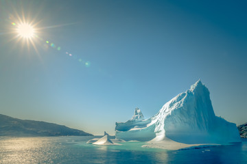 Icebergs in Greenland fighting to stay alive in global warming Wall mural