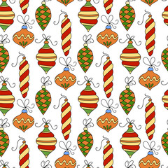 Seamless vector pattern with Christmas balls.  Winter llustration for modern designs.