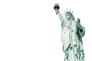 The Statue of Liberty, Landmarks of New York, isolated white background with copy space