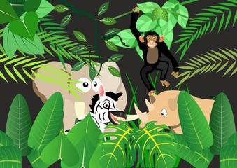 Cartoon animal's set in jungle background vector illustration