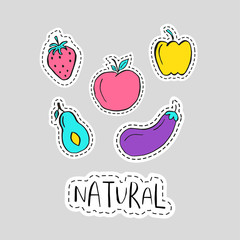 Healthy sticker, embroidery, badges  with fruits and vegetables.