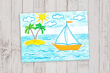 """Pencils drawing """"Sailing boat and palms island in the sea"""" on painted wooden wall"""
