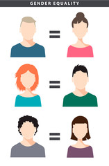 Vector gender equality illustration with female