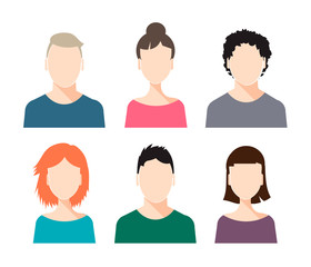 Vector set of human faces - male and female, isolated, with different hairstyles.
