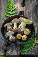 Fresh boletus and onion on the pan