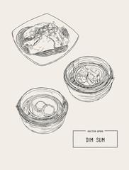 Dim sum colorful illustration. Vector illustration of Chinese cuisine.